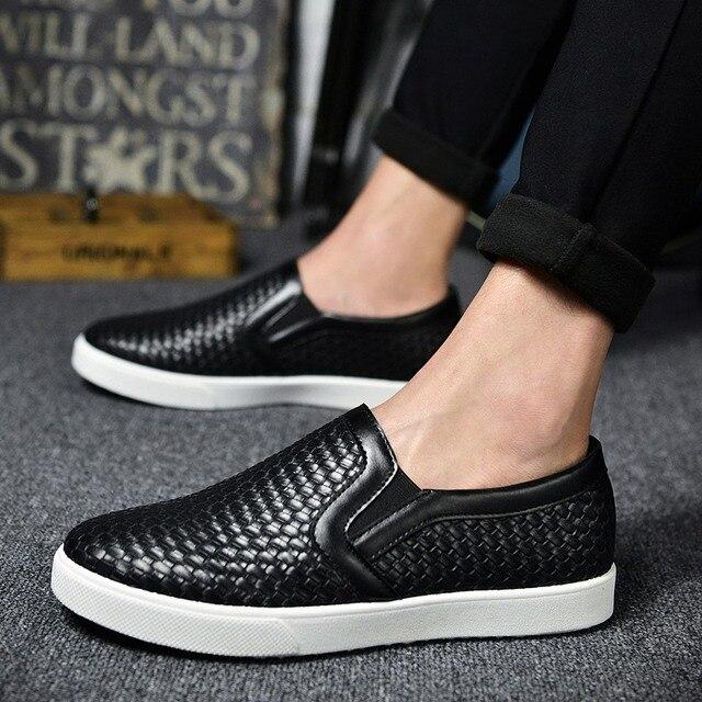 2016 Hombres Mocasines zapatos hombre hombres zapatos de Cuero Zapatos Casuales Para Hombre Mocasines Slip On Zapatos mocasines de Primavera y Otoño pisos