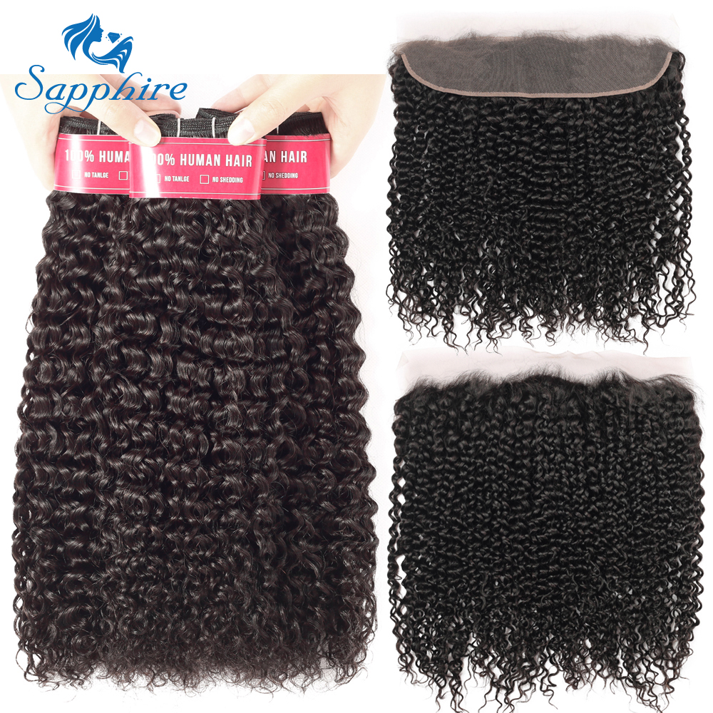 Sapphire Malaysian Kinky Curly 3 Bundles With Frontal Human Hair Weave 13x4 Pre Plucked Lace Frontal
