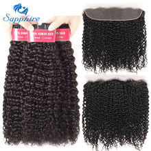 Sapphire Malaysian Kinky Curly 3 Bundles With Frontal Human Hair Weave 13x4 Pre Plucked Lace Frontal Closure With Bundles Remy(China)
