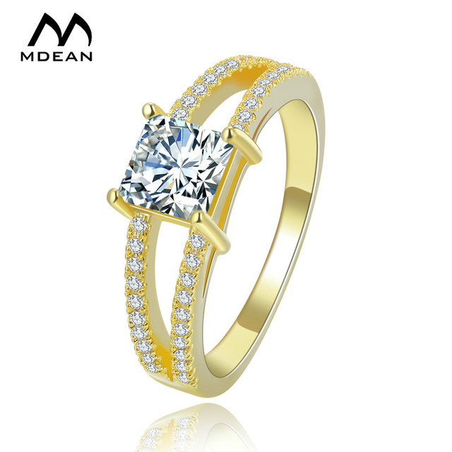 Mdean White Gold Color Square Aaa Zircon Simple Rings For Women