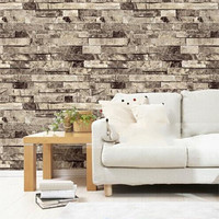 Textured Modern Tan 3D Brick Wall Paper Stacked Stone Wallpaper Vintage Papel De Parede W530