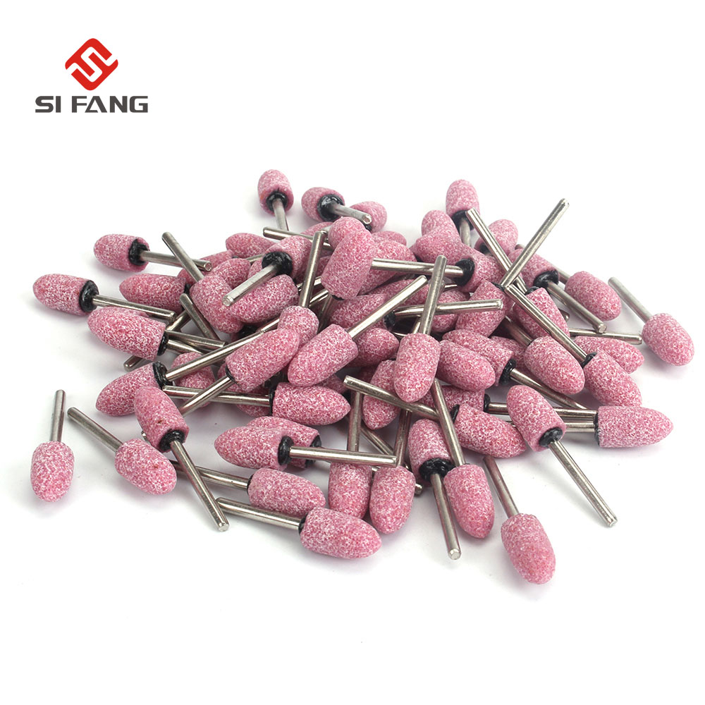 50pcs 3-12mm Taper Shape Polishing Bit Elastic Rubber With Abrasives Mounted Point Dremel Drills Die Grinder Rotary Tools