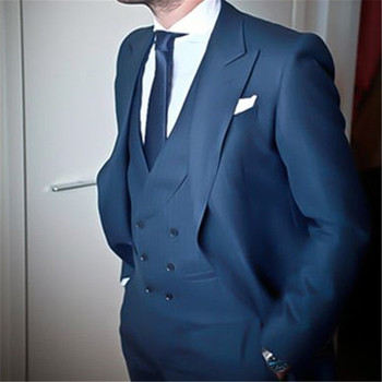 Custom Made Navy Blue Double Breasted Men Suit Classic Slim Fit Blazer Simple 3 Piece Wedding mens Suits (Jacket+Pants+Vest)