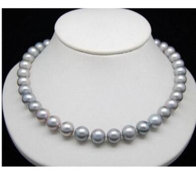 "12mm Silver Gray SEA SHELL PEARL NECKLACE 18/""AAA"