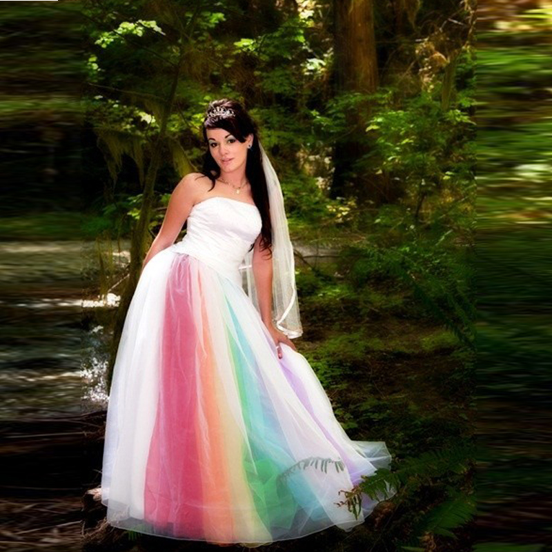 Sleeveless colourful rainbow boho wedding dresses tulle a line sleeveless colourful rainbow boho wedding dresses tulle a line 2017 custom taffeta bridal gowns floor length vestido novia in wedding dresses from weddings junglespirit Image collections