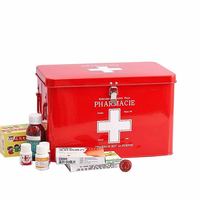 Boîte de rangement de premiers secours médicaux multi-couches médecine familiale boîte en métal organisateur pour bureau à domicile voiture lieu de travail voyage