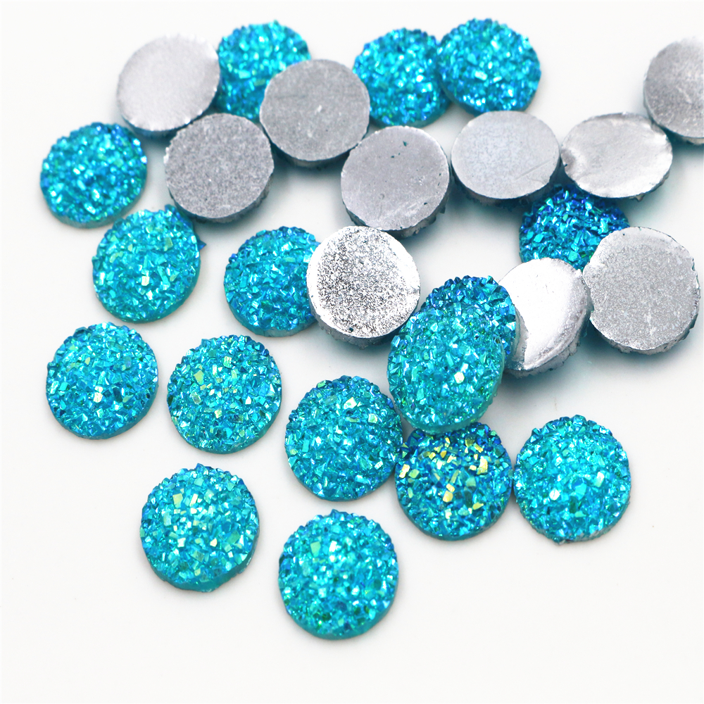 New Fashion 40pcs 12mm Water Green AB Color Flat Back Resin Cabochons Cameo  G5-02