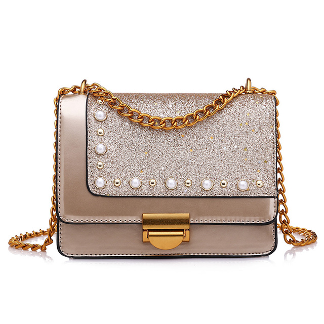 2018 Fashion Women Rivet Pearl Shoulder Bag Famous design Patent Leather  Lady Small Female Patchwork bags messenger Chain Bags