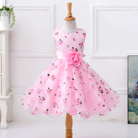 7T 12T Girl Dresses Princess Of England Dresses Sleeveless Cotton Pink Purple Flowers Girl Dresses Spring