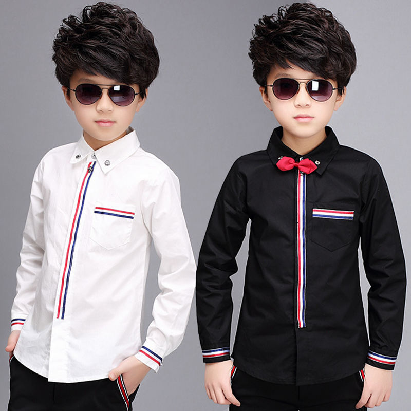 New 2019 Teenage Boys Shirts Spring Cotton Long Sleeve Solid Shirt Kids White&Black Tops Teen School Bow Clothes 6 10 13 15Years