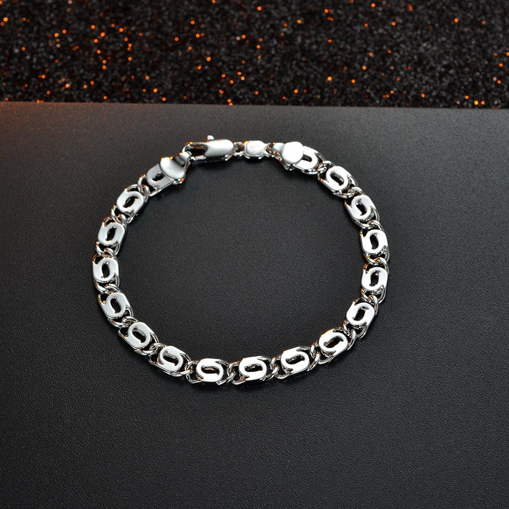 2017 New Punk Boy White Gold Bracelet Men's Fashion Bracelet Simple Style  Bracelet For Men Hand