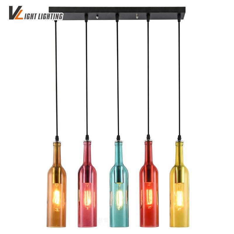 Vintage Industrial Loft Colorful Red Wine bottle Glass Ceiling light Novelty Restaurant Cafe Bar Hanging lamps Hotel Wine Bottle