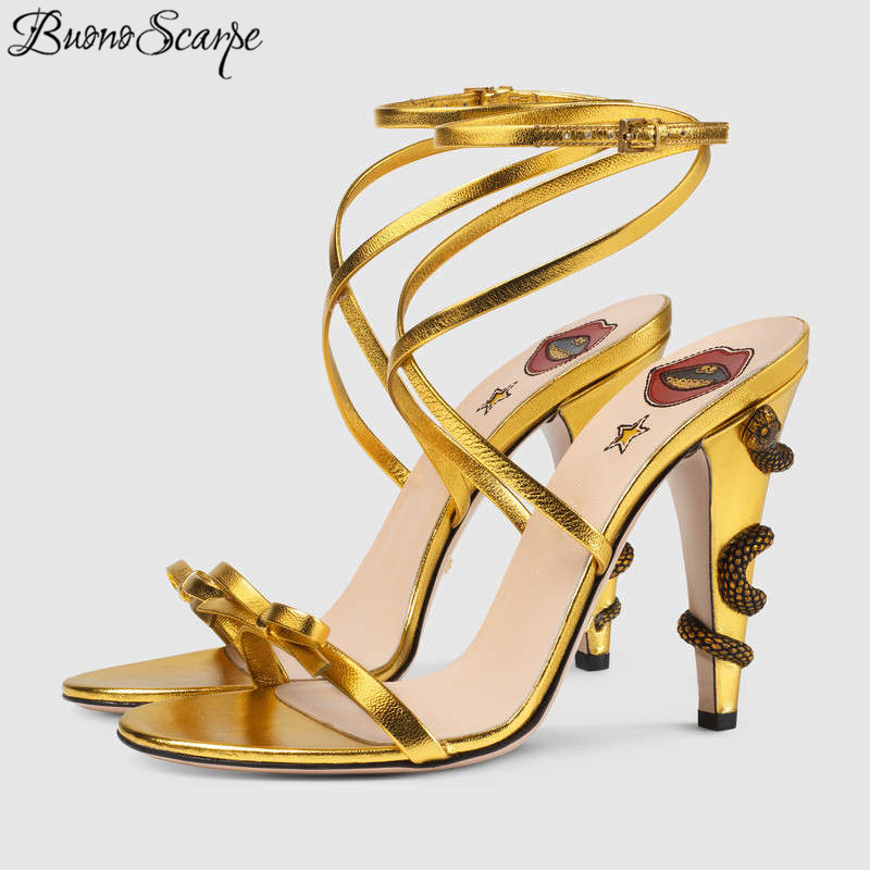 Gold Metal Snake Around Heel Sexy Sandals Women Bowknot High Heels Summer Party Shoes Ankle Strap
