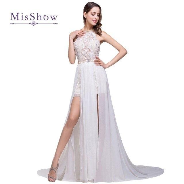 08bd465591d30 MisShow Vestido De Noiva Sexy Bohemian Halter Backless High Low Beaded Lace  Beach Wedding Dress Chiffon 2017 Robe De Mariage