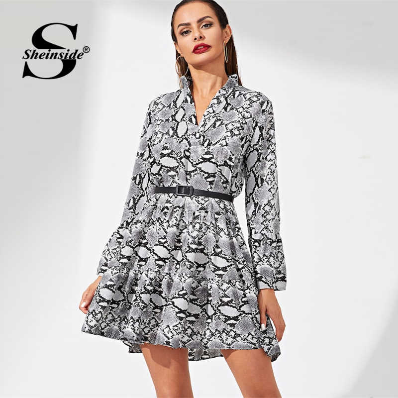 Sheinside Fashion Snake Print Party Dress Women 2019 Spring Casual A Line Belted Dresses Animal Print Bell Sleeve Mini Dress