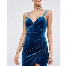 2016 Sexy Samt Backless Spaghettibügel Kurzen Blau Bodysuit Promi Club Cocktail Party Kleider Verbandkleid Vestidos