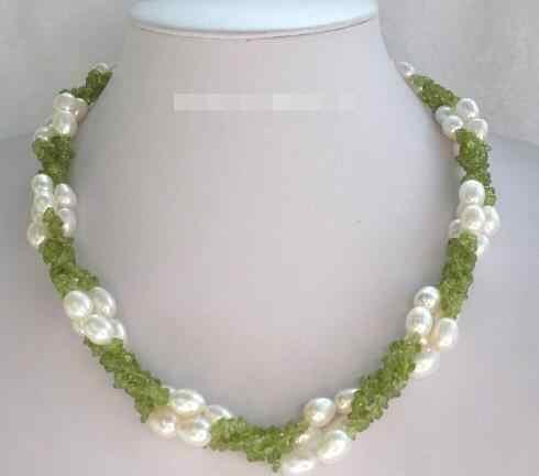 Oszałamiająca 3 rzędy 9-10mm ryż biały perły słodkowodne zielony peridot naszyjnik