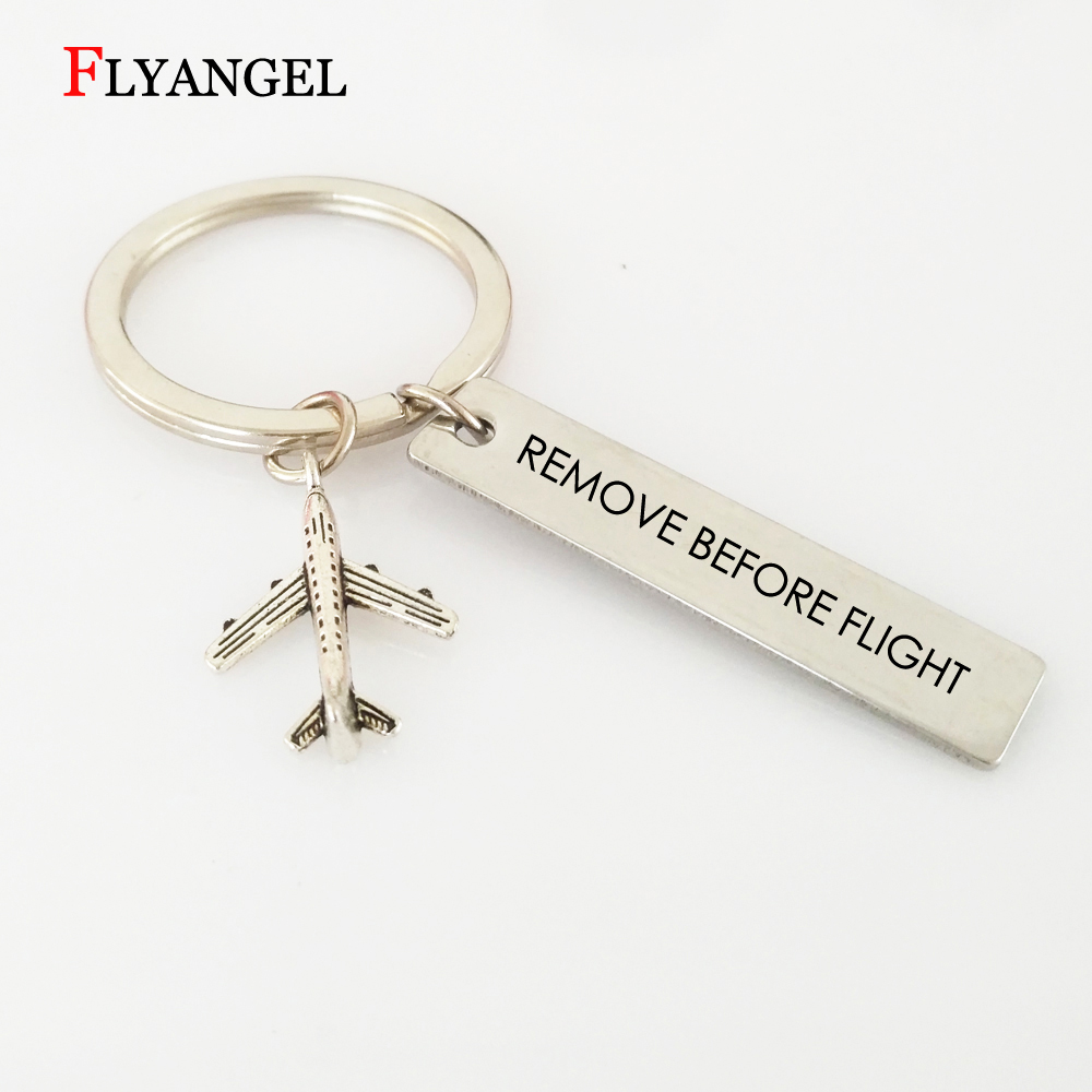 Fashion Remove Before Flight Keychain Aviation Gifts for Pilot Aviation Keychain Keyring Air Plane Pendant Key Tags Jewelry