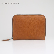 Hiram Beron Unisex Leather Card Holder Custom ID Mini Wallet Vegetable Tanned Leather Purse RFID Blocking Genuine Leather Holder
