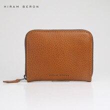 Hiram Beron Unisex Leather Card Holder Custom ID Mini Wallet Vegetable Tanned Leather Purse RFID Blocking Genuine Leather Holder