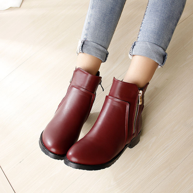 8eef7cc0bab8 autumn leather boots women ankle boots winter snow boots motorcycle big  small size 43 Zipper Metal buckle shoes crude low heels-in Ankle Boots from  Shoes on ...
