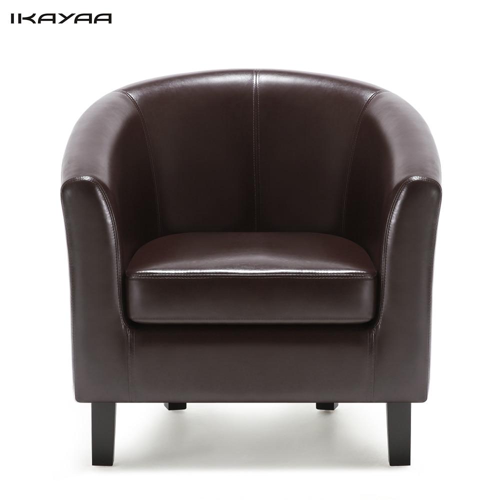 iKayaa US FR Stock Chair PU Leather Barrel Tub Chair