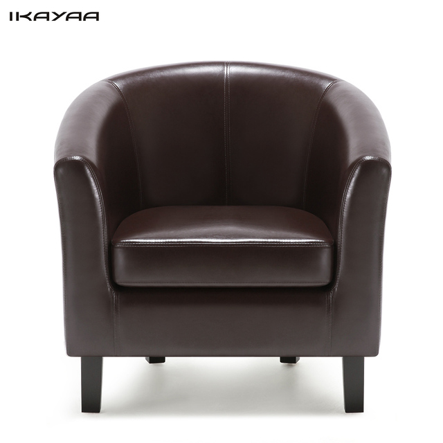Ikayaa Us Fr Stock Chair Pu Leather Barrel Tub Armchair Accent Club Single Sofa