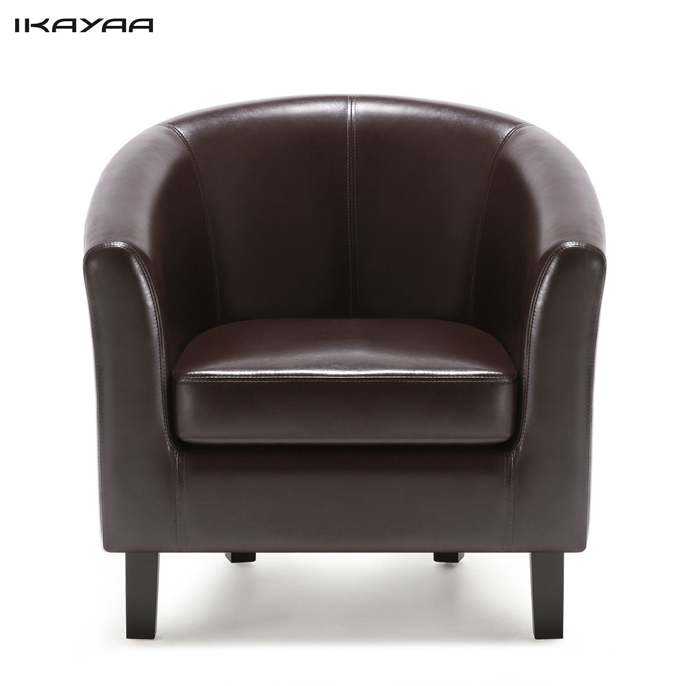 Ikayaa Us Uk Fr Stock Chair Pu Leather Barrel Tub Chair Armchair Accent  Club Chair Single