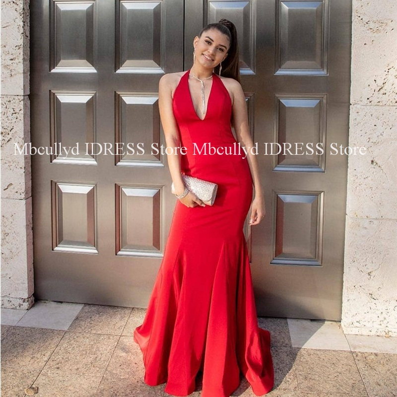Sexy Halter Neck Red Mermaid Women   Prom     Dresses   2019 Luxury Satin African Black Girls Long Evening Gala Party Gowns Cheap Sale