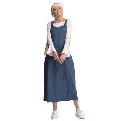 Мусульманские платье хиджаб Абая Дубай джинсовый ремешок Vestidos нарядное платье в арабском стиле исламский Tesettur Elbise одеяние мусульмане кафтан Турецкая одежда