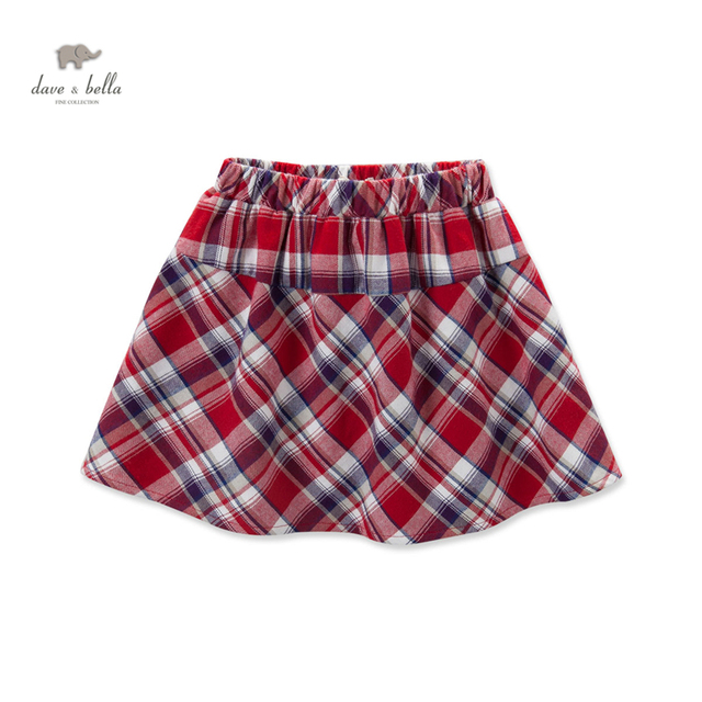 DK0462 dave bella  autumn baby girls red plaid skirt preppy style girls red grid skirt