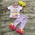 Conjuntos meninas do bebê roupas de verão meninas capri esta menina é executado em cupcakes e Jesus roupas roxo Asteca capri com acessórios