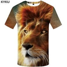 KYKU Lion T shirt Galaxy shirts Animal Tshirt T-shirt Plus Size Clothing Men Man 2018 Slim Japanese