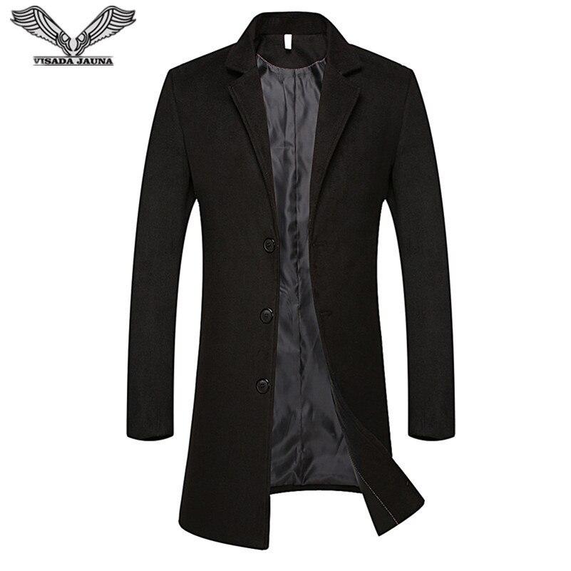 VISADA JAUNA 2017 New Woolen Coat Autumn And Winter Young Mens Slim Fit Coat Casual Korean Coat Big Size Business Jacket N8801