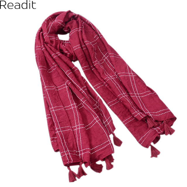 Winter Plaid Scarf Shawl Designer Women Cotton Linen Basic Shawls Women's Scarves Blue Blanket Scarf SC1126