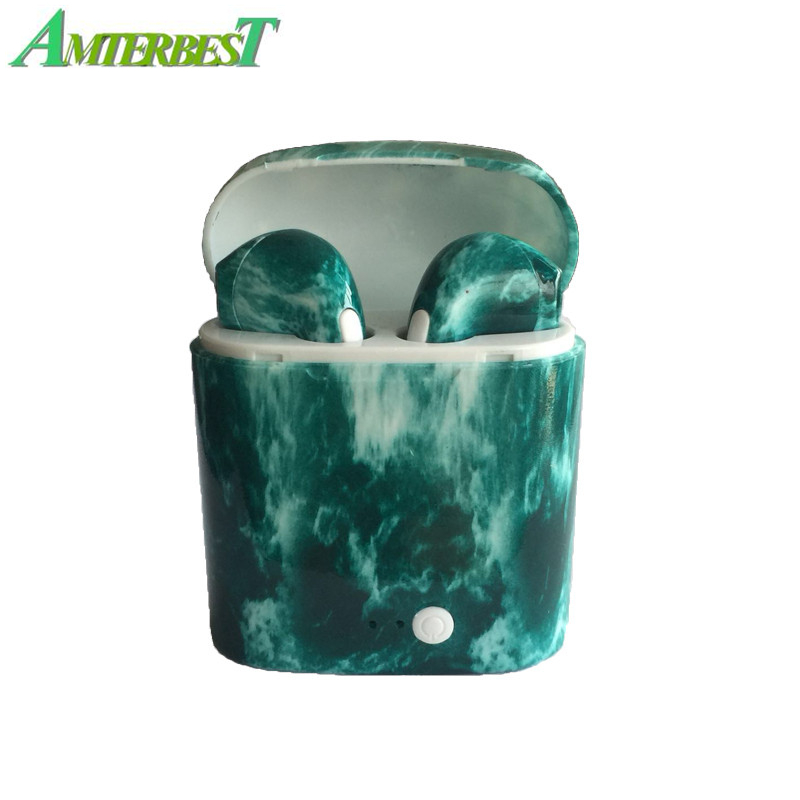 AMTERBEST Custom Product Gekleurde tekening Bluetooth Oortelefoon Tweeling Bluetooth V4.2 Stereo Headset Oortelefoon voor Bluetooth apparaat