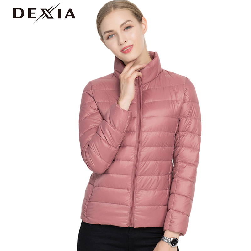 DEXIA Winter Coat Women Thin Outerwear 90% White Duck Down 2018 Coats Stand Collar Casual Slim   Parkas   Solid Jacket