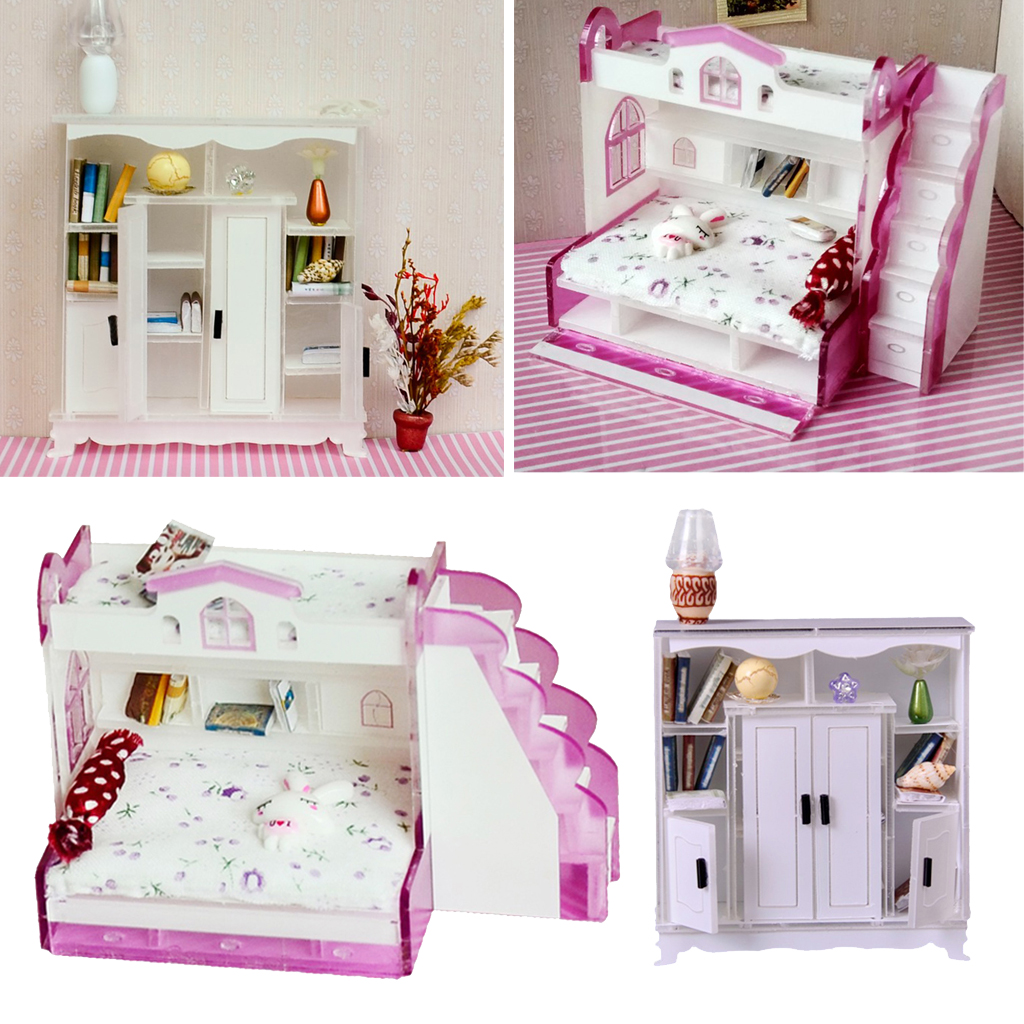 1 12 Miniature Children Bunk Bed Double Bunk Cabinet Cupboard Books Shelf Dollhouse Bedroom Furniture Kids Pretend Play Toy Furniture Toys Aliexpress