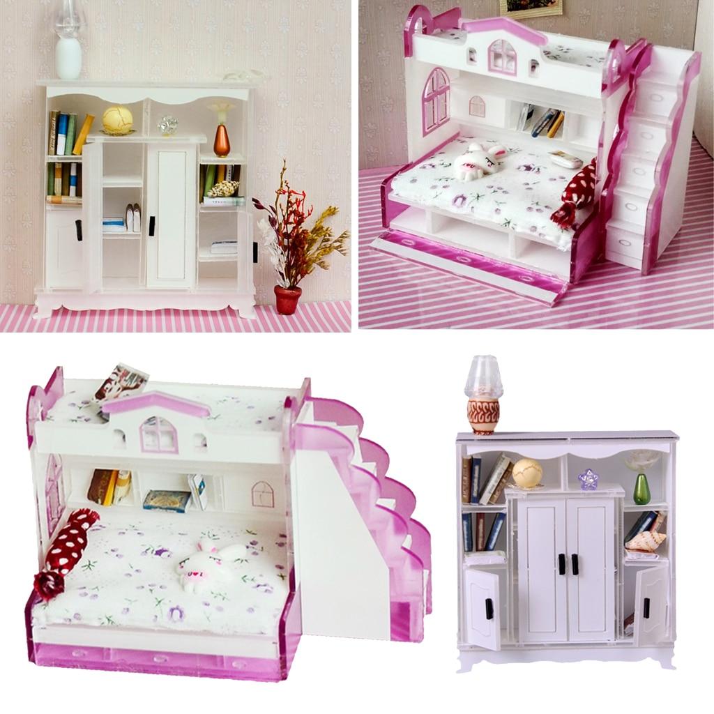 1 12 Miniature Children Bunk Bed Double Bunk Cabinet Cupboard Books Shelf Dollhouse Bedroom Furniture Kids Pretend Play Toy Furniture Toys Aliexpress