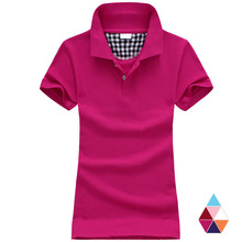 New 2017 Fashion Polo Women Shirt Solid Slim Polos Mujer Cotton Short Sleeve Polo Femme Ladies Tops Tees clothing