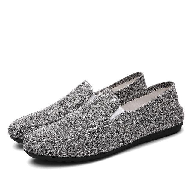 Retro casual hombres zapatos de lona resbalón respirable en Jeans Vaquero plana con pisos sólidos mocasines de verano 2000