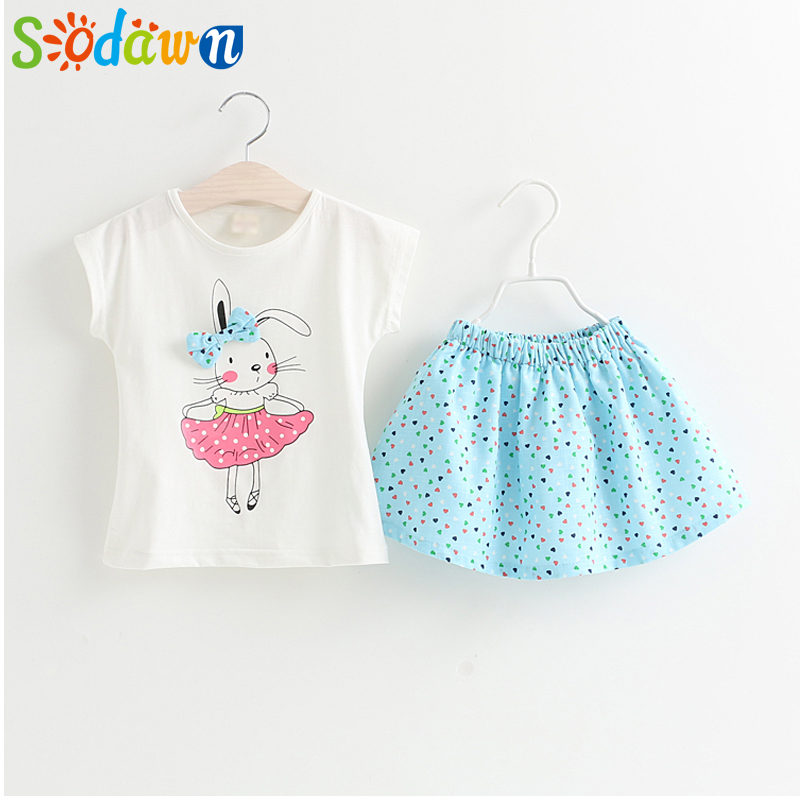 Sodawn Grils Clothing Sets Brand Summer Style Girls Clothes Cartoon Girls Clothing Set Short Sleeve T-Shirt+Dress Kids Clothing