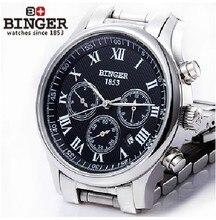 Envío libre Pulsera BINGER acusativo Mecánica Pantalla Multifunción Relojes de los hombres relojes 300 M Resistencia Al Agua