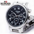Free shipping Wristwatches BINGER accusative Mechanical Wristwatches Multi Display men's watches 300M Water Resistance