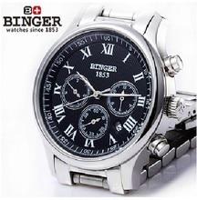 Бесплатная доставка Наручные Часы БИНГЕР винительный Механические Наручные Часы Мульти Дисплей мужские часы 300 М Водонепроницаемость
