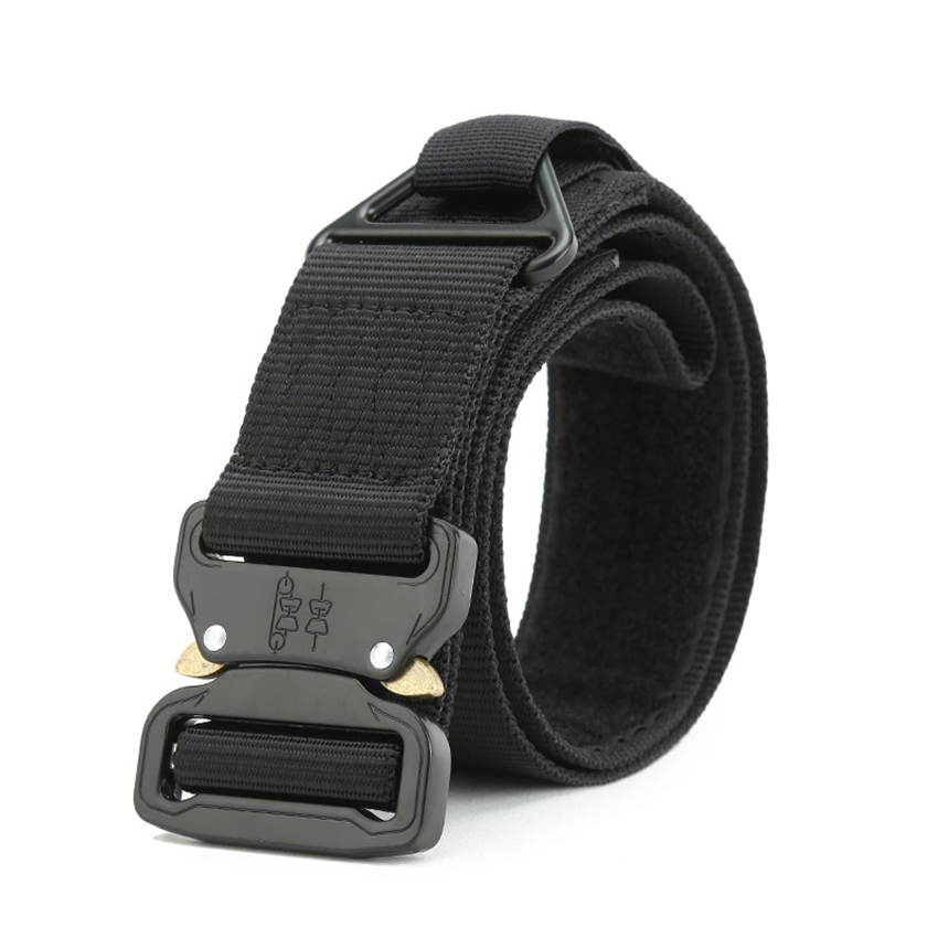 Military Tactical Belt Men Army Metal Buckle Nylon Belt For Jeans Pants 4.3CM Equipment Heavy Duty Canvas Waist Belt With Velcro