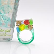 Flower Invitation HJ09 Square Ring _ Finished Handmade Resin goldfish fresh and lovely ring цена