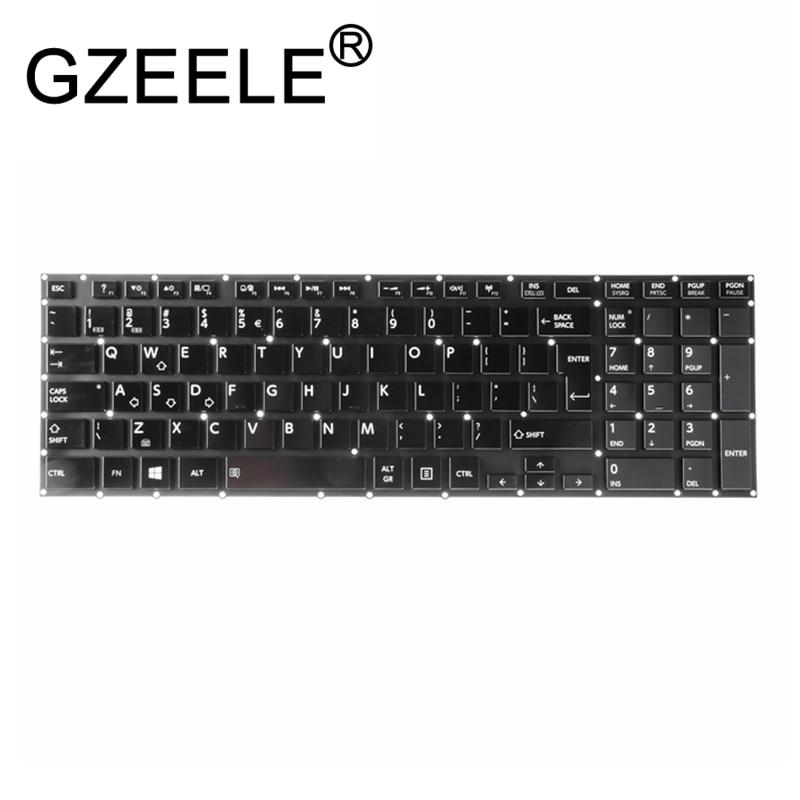 GZEELE New UK (GB) Keyboard For Toshiba Satellite P50-A P50T-A P55-A P55T-A Laptop Keyboard Backlit NSK-TZ0BU 9Z.NALBU.00U Black