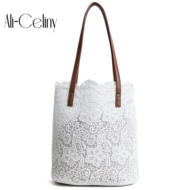 2-in-1 Women Fashion Designer Lace Handbags Tote Bags 2018 new handbag shoulder Bag Shopping free shipping
