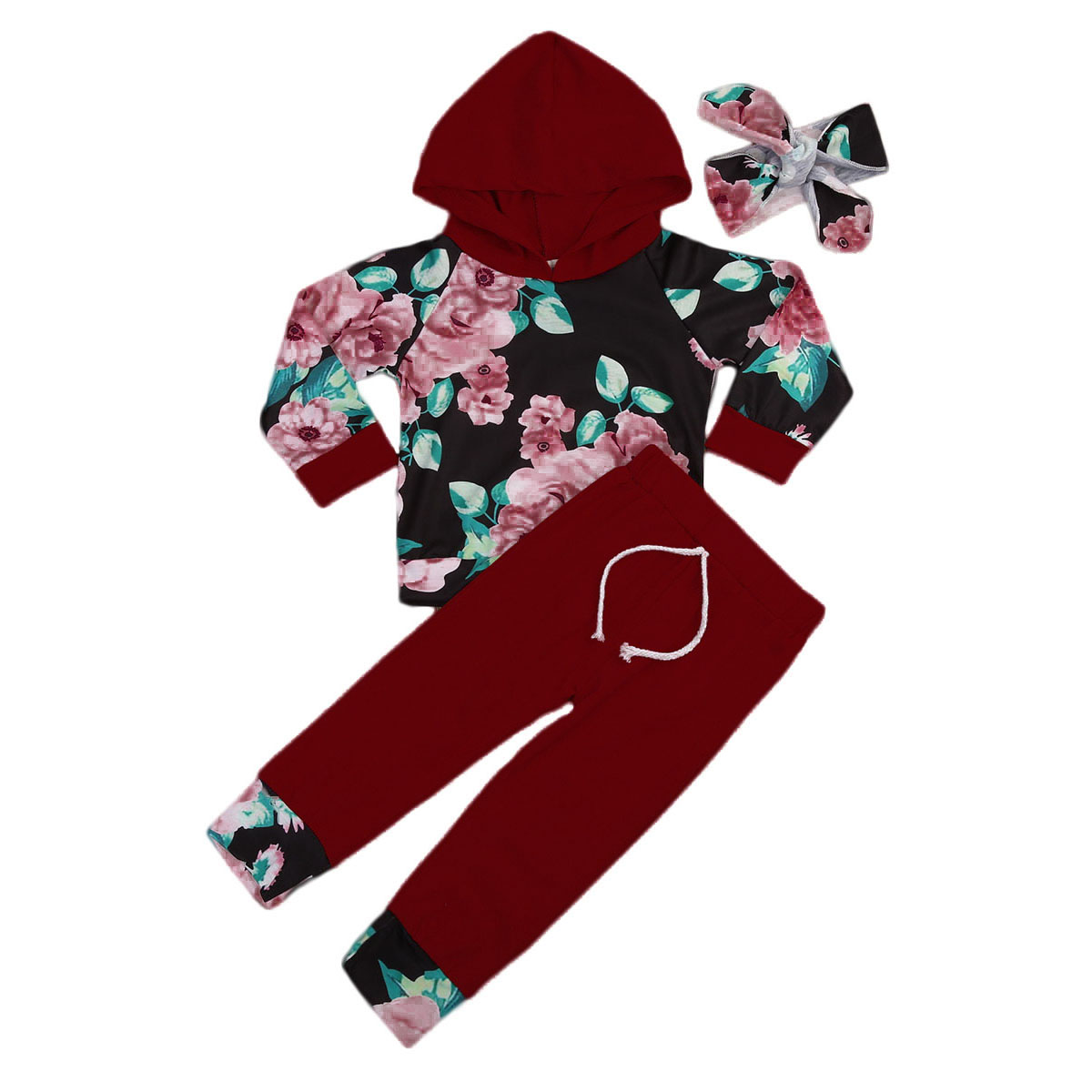 0-3Y Toddler Kids Baby Girl Clothing Autumn Long Sleeve Floral Hooded T-shirt Tops+Red Pant Heaband Outfits Children Clothes стоимость